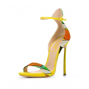 Women's Ankle Strap Stiletto Heel Sandals Yellow Shoes
