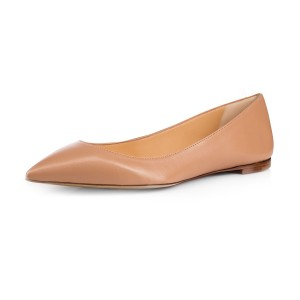 FSJ Women's Pointy Toe Ballet Flats in Nude US Size 3-15