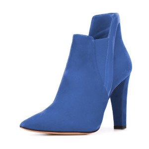 Women's Blue Commuting Suede Pointy Toe Ankle Chunky Heel Boots