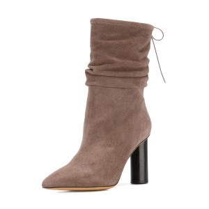 Brown Slouch Boots Pointy Toe Suede Block Heel Mid-calf Boots