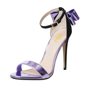 FSJ Metallic Purple Open Toe Bow Stiletto Heel Ankle Strap Sandals