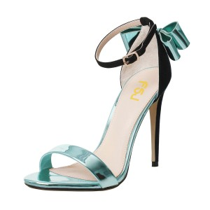 Metallic Turquoise Heels Open Toe Ankle Strap Stiletto Heel Sandals