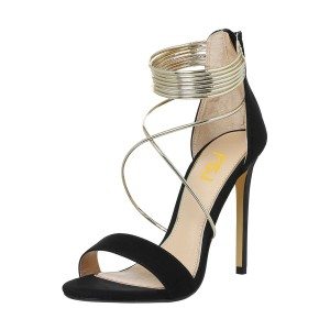 Women's Black Stiletto Heel Cross Over Ankle Strap Sandals