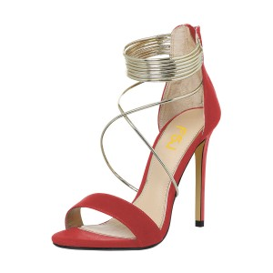 Women's Red Ankle Strap Sandals Cross Over Open Toe Stiletto Heels