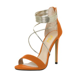 Women's Orange Stiletto Heel Cross Over Ankle Strap Sandals