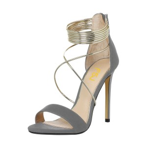 Women's Grey Stiletto Heel Cross Over Ankle Strap Sandals