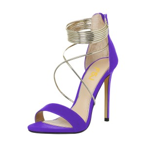 Women's Purple Stiletto Heels Cross Over Ankle Strap Sandals
