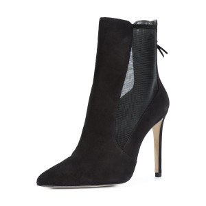 Women's Black Office Heels Zipper Pointed Toe Stiletto Boots Ankle Boots