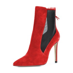 Women's Red Back Zipper Pointed Toe Stiletto Boots Ankle Boots