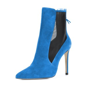 Cobalt Blue Stiletto Boots Pointy Toe Suede Ankle Booties by FSJ