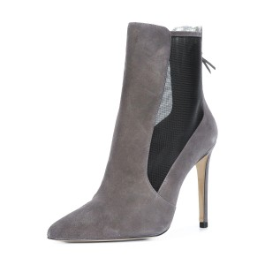 Women's Grey Back Zipper Pointed Toe Stiletto Boots Ankle Boots