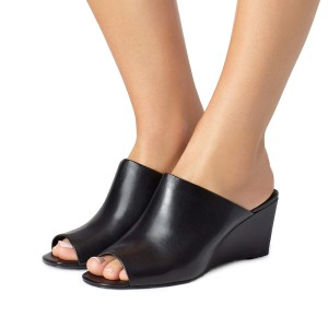 Black Peep Toe 3 Inch Heels Wedge Mules Summer Sandals by FSJ