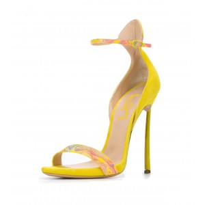 Yellow Ankle Strap Sandals Open Toe Stiletto Heels for Ladies