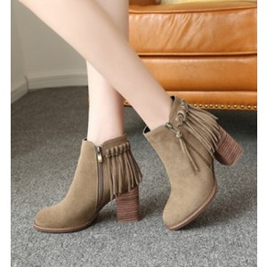 Women's Khaki Round Toe Chunky Tassels Vintage Ankle Boots