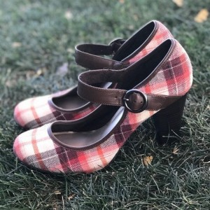 Custom Made Plaid Mary Jane Chunky Heel Pumps