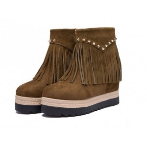 Brown Vintage Boots Suede Fringe Platform Shoes with Rivets