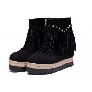 Women's Black Round Toe Tassels Vintage Ankle Wedge Heels Boots