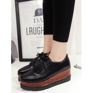 Black Vintage Shoes Fringe Oxfords Platform Shoes
