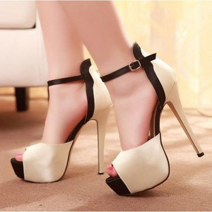Beige Satin Ankle Buckle Stiletto Pumps