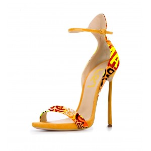 Women's Yellow Letters Printed Stiletto Heel Ankle Strap Sandals