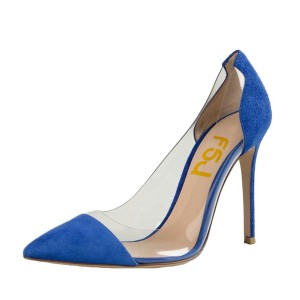 Women's Blue Suede Pointed Toe Stiletto Heel Clear Pumps