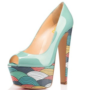 Women's Cyan Clouds Patterns Chunky Heels Pumps Shoes