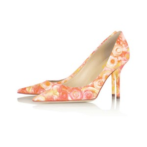 Orange Floral Heels Pointy Toe Flower Stiletto Heels Office Shoes