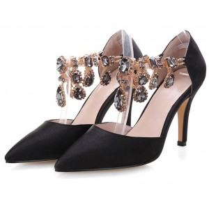 Black Evening Shoes Suede Stiletto Heels Pumps for Party