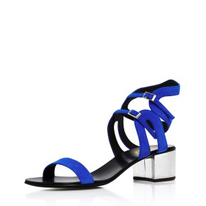 Women's Royal Blue Heels Ankle Buckle Office Chunky Heel Sandals