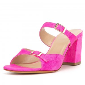 Fuchsia Open Toe Strap Block Heel Mule Buckle Sandals