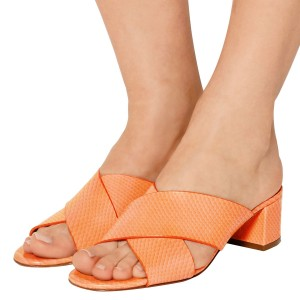 Orange Python Summer Sandals Open Toe Chunky Heel Mules