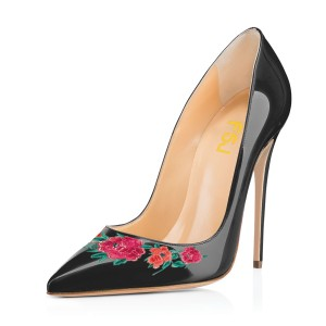 Women's Black Floral Rose Office Heels Pointy Toe Stiletto Heels Pumps