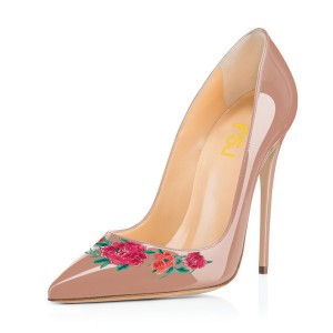 Women's Nude Floral Rose Office Heels Pointy Toe Stiletto Heels Pumps