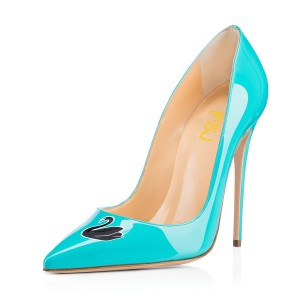 Women's Turquoise Swan Floral Office Heels Pointy Toe Stiletto Heels Pumps
