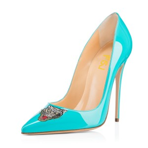 Women's Turquoise Pointy Toe Tiger Floral Office Heels Stiletto Heels Pumps