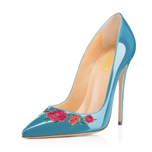 Women's Cyan Floral Rose Office Heels Pointy Toe Stiletto Heels Pumps