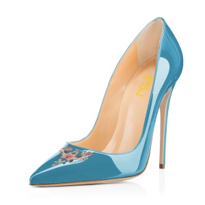Women's Blue Pointy Toe Floral Office Heels Stiletto Heels Pumps