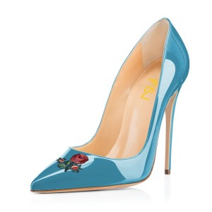 Women's Cyan Pointy Toe Rose Floral Office Heels Stiletto Heels Pumps