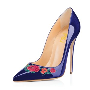 Women's Navy Floral Rose Office Heels Pointy Toe Stiletto Heels Pumps