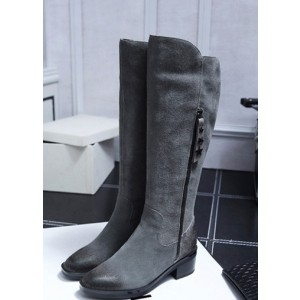 Dark Grey Vintage Boots Suede Round Toe Knee-high Boots