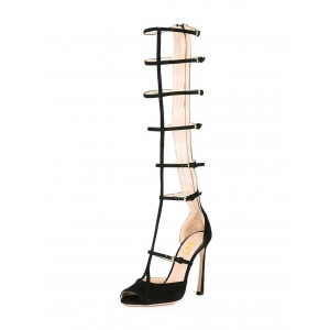 Black Gladiator Heels Peep Toe Knee-high Stiletto Heels