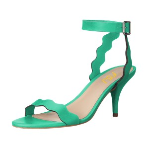 Women's Green Ripple Kitten Heel Ankle Strap Sandals