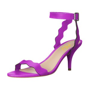 Purple Ankle Strap Sandals Open Toe Kitten Heels