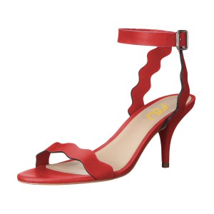 Women's Red Ripple Stiletto Heel Ankle Strap Sandals
