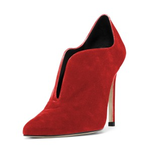 Women's Coral Red Suede Stiletto Heels Pointed Toe Ankle Booties