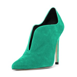 Women's Green Suede Stiletto Heels Pointed Toe Ankle Booties