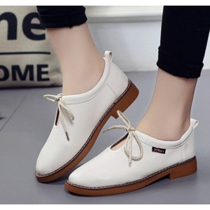 Ivory Vintage Shoes Round Toe Lace up Comfortable Flats
