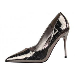 Dark Grey Office Heels Patent Leather Pointy Toe Stilettos Pumps