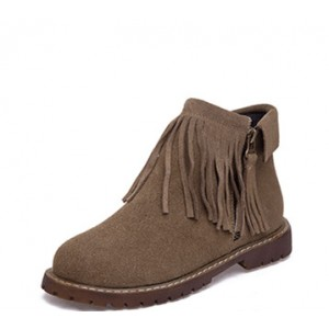 Women's Brown Suede Round Toe Tassels Snow Vintage Boots