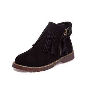 Women's Black Suede Round Toe Tassels Snow Flats Vintage Boots